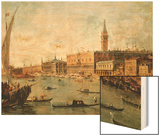 Venice: the Doge's Palace and the Molo from the Basin of San Marco, circa 1770 Wood Print by Francesco Guardi