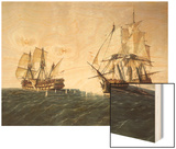 Combat Between the Spanish Ship 'Catalan' and the British Ship 'Mary' in 1819, 1888 Wood Print by Rafael Monleon Y Torres