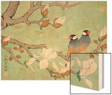 Twin Birds in the Branches Wood Print by Hsi-Tsun Chang