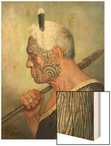 A Maori Warrior Wood Print by Charles Frederick Goldie