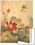 Birds over Lotus Pond Wood Print by Fangyu Meng