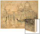 Venice Or, the Gondolas, 1908 (Black Chalk and W/C on Paper) Wood Print by Paul Signac
