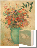 Flowers in a Turquoise Vase, C.1912 Wood Print by Redon Odilon