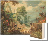 Landscape with Birds, 1628 Wood Print by Roelandt Jacobsz. Savery