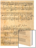 Handwritten Musical Score (Ink on Paper) Wood Print by Ludwig Van Beethoven