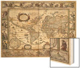 "World Map, from ""Le Theatre Du Monde"" or ""Nouvel Atlas,"" 1645 Wood Print by Willem Janszoon Blaeu"