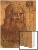 "Portrait of Leonardo Da Vinci (With His ""Vitruvian Man"") Wood Print"