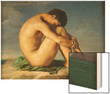 Naked Young Man Sitting by the Sea, 1836 Wood Print by Hippolyte Flandrin