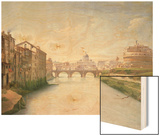 View of the Ponte and Castel Sant'Angelo in Rome Wood Print by Christoffer-wilhelm Eckersberg