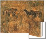 Horses in the Field Wood Print by Wanqi Zhang