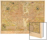 Plan de La Tapisserie, Map of Paris, Originally a Tapestry Made in circa 1570, 1818 Wood Print by Caroline Naudet