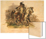 A Blackfoot Indian on Horseback, Plate 19 from Volume 1 of Travels in the Interior of North America Wood Print by Karl Bodmer