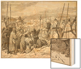Pilgrims under Escort of Knights Templars, in Sight of Jerusalem Wood Print by Edouard Zier