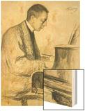 Portrait of Sergei Vasilievich Rachmaninov at the Piano, 1916 Wood Print by Leonid Osipovic Pasternak