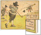 Rule XIII: If Ye Player's Ball Strike an Opponent's Caddie Wood Print by Charles Crombie