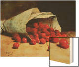 A Spilled Bag of Cherries Wood Print by Antoine Vollon