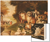 The Peaceable Kingdom, 1832-34 (See also 84503) Wood Print by Edward Hicks