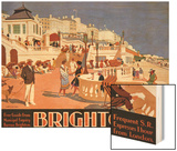 Poster Advertising Travel to Brighton Wood Print by Henry George Gawthorn