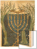 Illumination of a Menorah, from the Jewish Cervera Bible, 1299 Wood Print by Joseph Asarfati