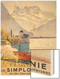 Die Simplonlinie an Den Gestaden Des Genfersees', Poster Advertising Rail Travel around Lake Geneva Wood Print by Emil Cardinaux
