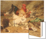 Hens Roosting with their Chickens Wood Print by Eugene Remy Maes
