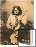Geronimo Holding a Rifle, 1884 Wood Print