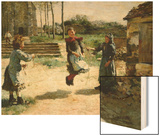 Little Girls Jumping Rope; Gamines Sautant a La Corde, 1888 Wood Print by Alphonse Etienne Dinet