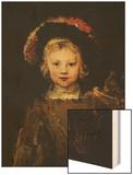 Young Boy in Fancy Dress, circa 1660 Wood Print by  Rembrandt van Rijn