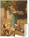 Feeding the Chickens Wood Print by Luigi Rossi