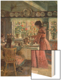 The Coffee is Poured - the Artist's Wife with Their 2 Daughters Wood Print by Laurits Regner Tuxen