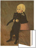 A Small Girl with a Cat, 1889 Wood Print by Théophile Alexandre Steinlen