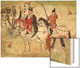 Two Horsemen in a Landscape Or, the Boddhisatva and His Equerry, Tang Period (Painted Stone) Wood Print