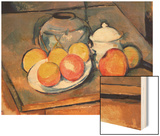 Straw-covered Vase, Sugar Bowl and Apples, 1890-93 Wood Sign by Cézanne Paul