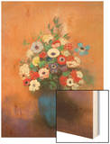 Anemones and Lilacs in a Blue Vase, after 1912 Wood Print by Redon Odilon