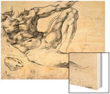 Study for the Creation of Adam Wood Print by  Michelangelo Buonarroti