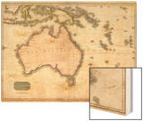 John Pinkerton's Map of Australia and the South West Pacific, 1818 Wood Print by E. J. Pinkerton