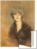 Portrait of Lucette, c.1913 Wood Print by Paul Cesar Helleu