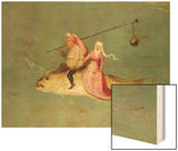 The Temptation of St. Anthony, Right Hand Panel, Detail of a Couple Riding a Fish Wood Print by Hieronymus Bosch