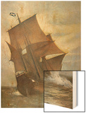 The Mayflower Carrying the Pilgrim Fathers across the Atlantic to America in 1620 Wood Print by Marshall Johnson