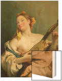 Girl with a Mandolin, 1755-60 Wood Print by Giovanni Battista Tiepolo