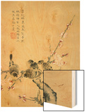 Plum Blossoms and Sparrows Wood Print by Zhou Xianji