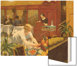 Tables for Ladies Wood Print by Hopper Edward