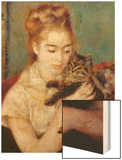 Woman with a Cat Wood Sign by Renoir Pierre-Auguste