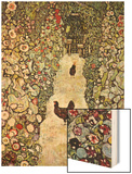 Garden Path with Chickens Wood Print by Gustav Klimt