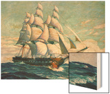 Illustration of Uss Constitution Wood Print