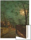 A Wet Winter's Evening Wood Print by John Atkinson Grimshaw