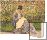 Camille Monet and a Child in the Artist's Garden in Argenteuil Wood Print by Monet Claude
