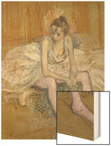 A Seated Dancer with Pink Stockings, 1890 Wood Print by Henri de Toulouse-Lautrec