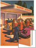 Oil Series: Full-Service Gas Station Wood Print
