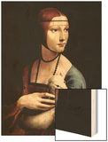 Portrait of a Lady with An Ermine Wood Print by  Leonardo da Vinci
